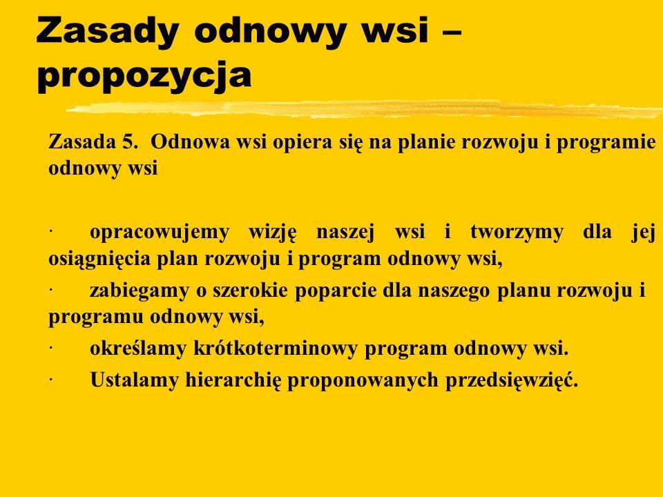 Zasady odnowy wsi – propozycja zZasada 5.