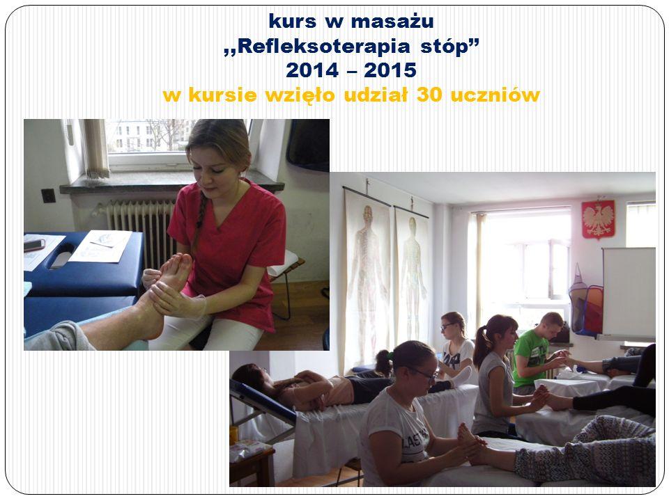 kurs w masażu,,Refleksoterapia stóp'' 2014 – 2015 w kursie wzięło udział 30 uczniów