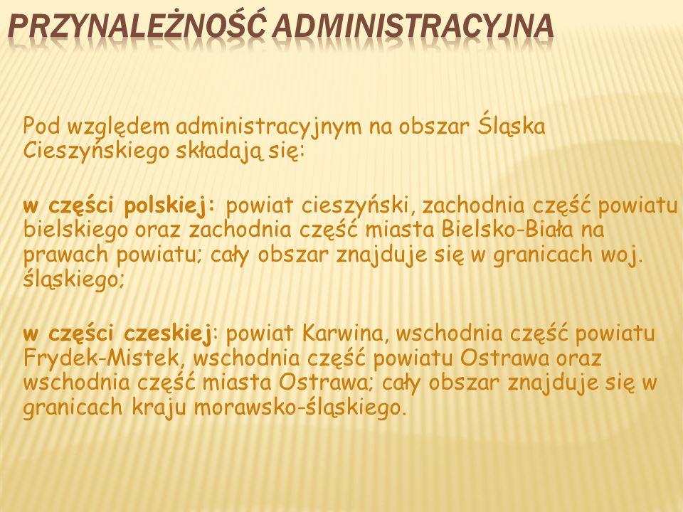 Pod względem administracyjnym na obszar Śląska Cieszyńskiego składają się: w części polskiej: powiat cieszyński, zachodnia część powiatu bielskiego oraz zachodnia część miasta Bielsko-Biała na prawach powiatu; cały obszar znajduje się w granicach woj.