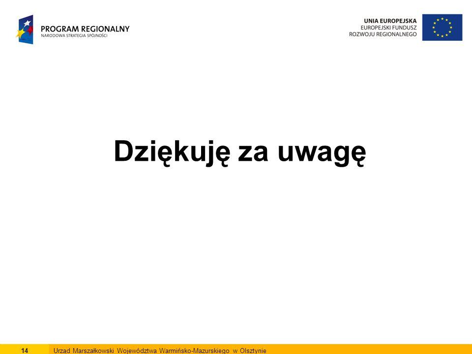 Dziękuję za uwagę 14Urząd Marszałkowski Województwa Warmińsko-Mazurskiego w Olsztynie