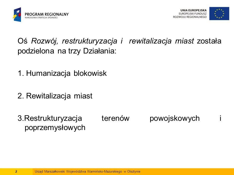 Oś Rozwój, restrukturyzacja i rewitalizacja miast została podzielona na trzy Działania: 1. Humanizacja blokowisk 2. Rewitalizacja miast 3.Restrukturyz
