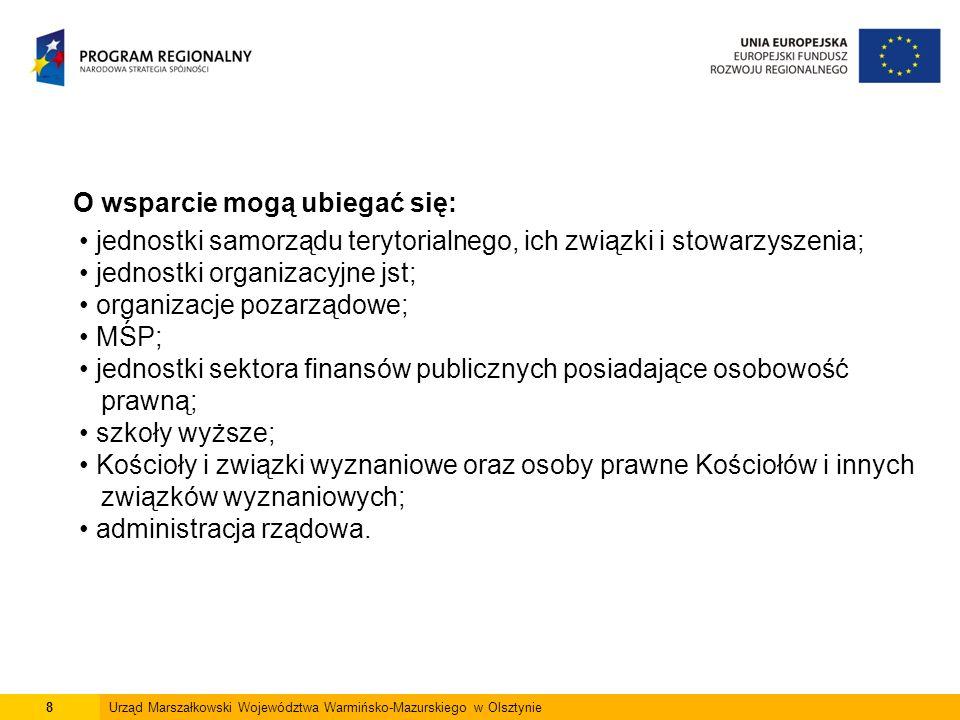 8Urząd Marszałkowski Województwa Warmińsko-Mazurskiego w Olsztynie O wsparcie mogą ubiegać się: jednostki samorządu terytorialnego, ich związki i stow