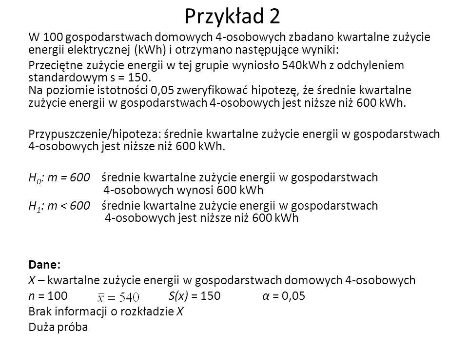Przykład 2 W 100 gospodarstwach domowych 4-osobowych zbadano kwartalne zużycie energii elektrycznej (kWh) i otrzymano następujące wyniki: Przeciętne zużycie energii w tej grupie wyniosło 540kWh z odchyleniem standardowym s = 150.