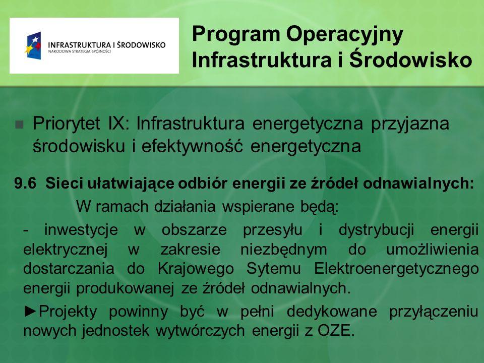 Program Operacyjny Infrastruktura i Środowisko Priorytet IX: Infrastruktura energetyczna przyjazna środowisku i efektywność energetyczna 9.6 Sieci ułatwiające odbiór energii ze źródeł odnawialnych: W ramach działania wspierane będą: - inwestycje w obszarze przesyłu i dystrybucji energii elektrycznej w zakresie niezbędnym do umożliwienia dostarczania do Krajowego Sytemu Elektroenergetycznego energii produkowanej ze źródeł odnawialnych.