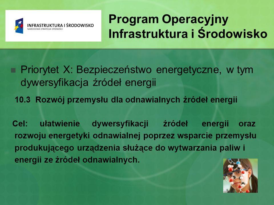 Program Operacyjny Infrastruktura i Środowisko Priorytet X: Bezpieczeństwo energetyczne, w tym dywersyfikacja źródeł energii 10.3 Rozwój przemysłu dla odnawialnych źródeł energii Cel: ułatwienie dywersyfikacji źródeł energii oraz rozwoju energetyki odnawialnej poprzez wsparcie przemysłu produkującego urządzenia służące do wytwarzania paliw i energii ze źródeł odnawialnych.