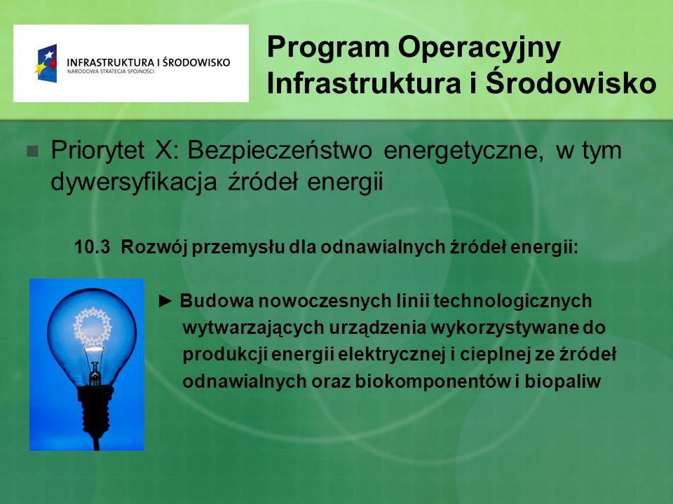 Program Operacyjny Infrastruktura i Środowisko Priorytet X: Bezpieczeństwo energetyczne, w tym dywersyfikacja źródeł energii 10.3 Rozwój przemysłu dla odnawialnych źródeł energii: ► Budowa nowoczesnych linii technologicznych wytwarzających urządzenia wykorzystywane do produkcji energii elektrycznej i cieplnej ze źródeł odnawialnych oraz biokomponentów i biopaliw