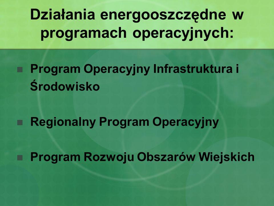 Działania energooszczędne w programach operacyjnych: Program Operacyjny Infrastruktura i Środowisko Regionalny Program Operacyjny Program Rozwoju Obszarów Wiejskich
