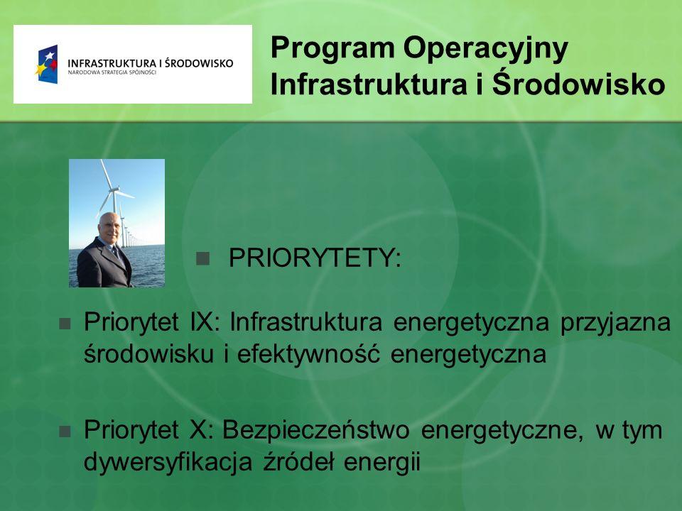Program Operacyjny Infrastruktura i Środowisko PRIORYTETY: Priorytet IX: Infrastruktura energetyczna przyjazna środowisku i efektywność energetyczna Priorytet X: Bezpieczeństwo energetyczne, w tym dywersyfikacja źródeł energii