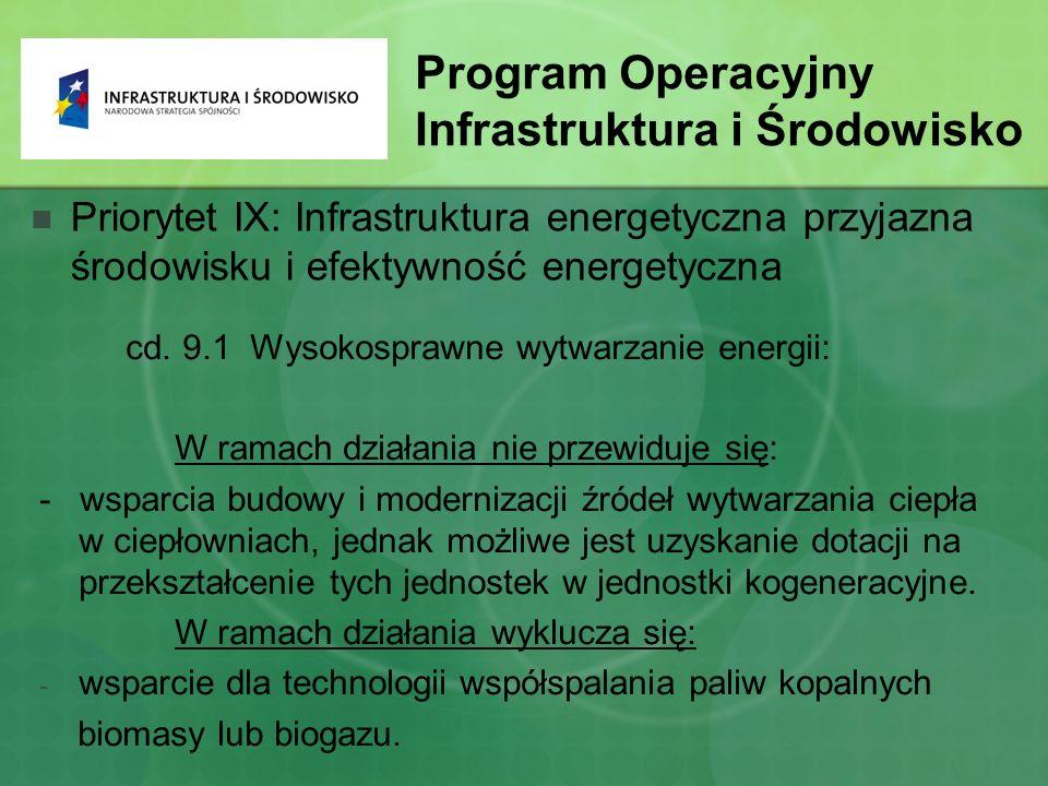 Program Operacyjny Infrastruktura i Środowisko Priorytet IX: Infrastruktura energetyczna przyjazna środowisku i efektywność energetyczna cd.