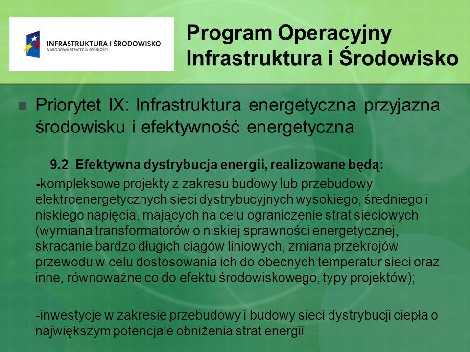 Program Operacyjny Infrastruktura i Środowisko Priorytet IX: Infrastruktura energetyczna przyjazna środowisku i efektywność energetyczna 9.2 Efektywna dystrybucja energii, realizowane będą: -kompleksowe projekty z zakresu budowy lub przebudowy elektroenergetycznych sieci dystrybucyjnych wysokiego, średniego i niskiego napięcia, mających na celu ograniczenie strat sieciowych (wymiana transformatorów o niskiej sprawności energetycznej, skracanie bardzo długich ciągów liniowych, zmiana przekrojów przewodu w celu dostosowania ich do obecnych temperatur sieci oraz inne, równoważne co do efektu środowiskowego, typy projektów); -inwestycje w zakresie przebudowy i budowy sieci dystrybucji ciepła o największym potencjale obniżenia strat energii.
