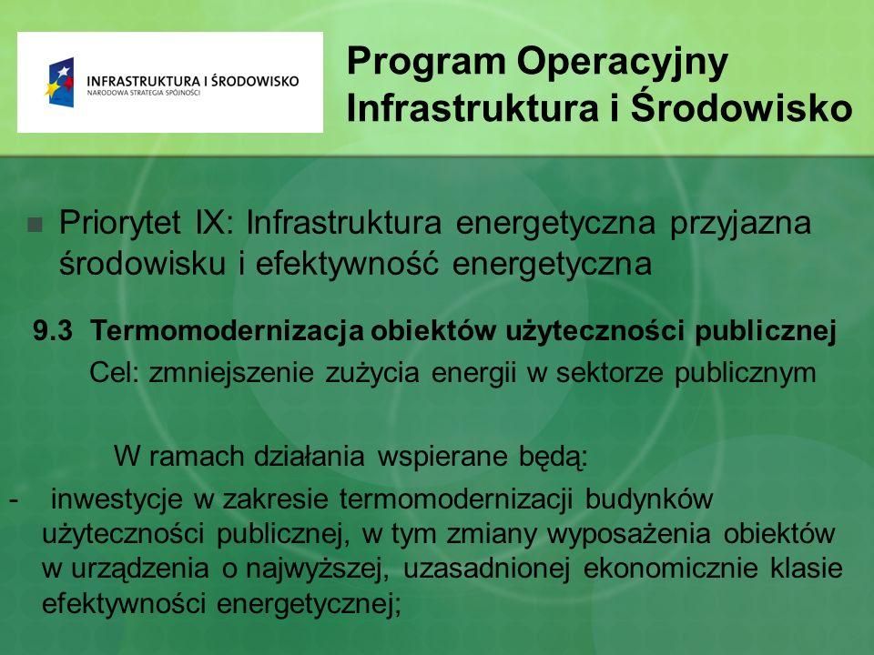 Program Operacyjny Infrastruktura i Środowisko Priorytet IX: Infrastruktura energetyczna przyjazna środowisku i efektywność energetyczna 9.3 Termomodernizacja obiektów użyteczności publicznej Cel: zmniejszenie zużycia energii w sektorze publicznym W ramach działania wspierane będą: - inwestycje w zakresie termomodernizacji budynków użyteczności publicznej, w tym zmiany wyposażenia obiektów w urządzenia o najwyższej, uzasadnionej ekonomicznie klasie efektywności energetycznej;