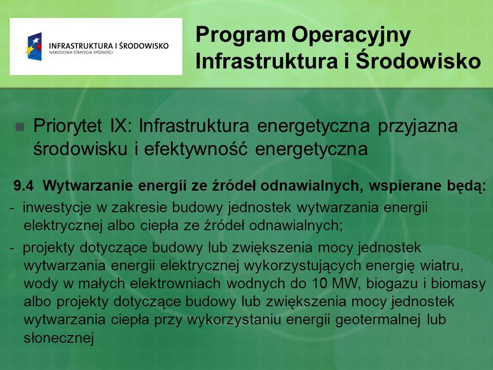 Program Operacyjny Infrastruktura i Środowisko Priorytet IX: Infrastruktura energetyczna przyjazna środowisku i efektywność energetyczna 9.4 Wytwarzanie energii ze źródeł odnawialnych, wspierane będą: - inwestycje w zakresie budowy jednostek wytwarzania energii elektrycznej albo ciepła ze źródeł odnawialnych; - projekty dotyczące budowy lub zwiększenia mocy jednostek wytwarzania energii elektrycznej wykorzystujących energię wiatru, wody w małych elektrowniach wodnych do 10 MW, biogazu i biomasy albo projekty dotyczące budowy lub zwiększenia mocy jednostek wytwarzania ciepła przy wykorzystaniu energii geotermalnej lub słonecznej