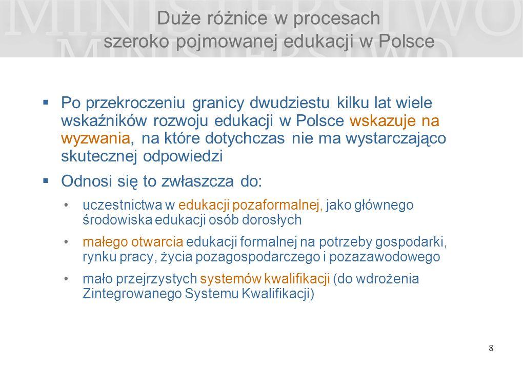 Duże różnice w procesach szeroko pojmowanej edukacji w Polsce  Po przekroczeniu granicy dwudziestu kilku lat wiele wskaźników rozwoju edukacji w Polsce wskazuje na wyzwania, na które dotychczas nie ma wystarczająco skutecznej odpowiedzi  Odnosi się to zwłaszcza do: uczestnictwa w edukacji pozaformalnej, jako głównego środowiska edukacji osób dorosłych małego otwarcia edukacji formalnej na potrzeby gospodarki, rynku pracy, życia pozagospodarczego i pozazawodowego mało przejrzystych systemów kwalifikacji (do wdrożenia Zintegrowanego Systemu Kwalifikacji) 8