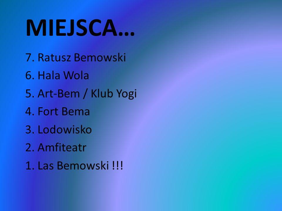 MIEJSCA… 7. Ratusz Bemowski 6. Hala Wola 5. Art-Bem / Klub Yogi 4.