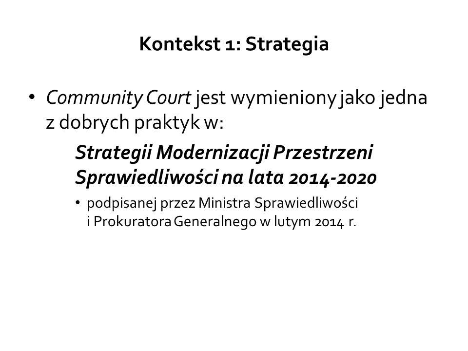 Kontekst 1: Strategia Community Court jest wymieniony jako jedna z dobrych praktyk w: Strategii Modernizacji Przestrzeni Sprawiedliwości na lata 2014-2020 podpisanej przez Ministra Sprawiedliwości i Prokuratora Generalnego w lutym 2014 r.