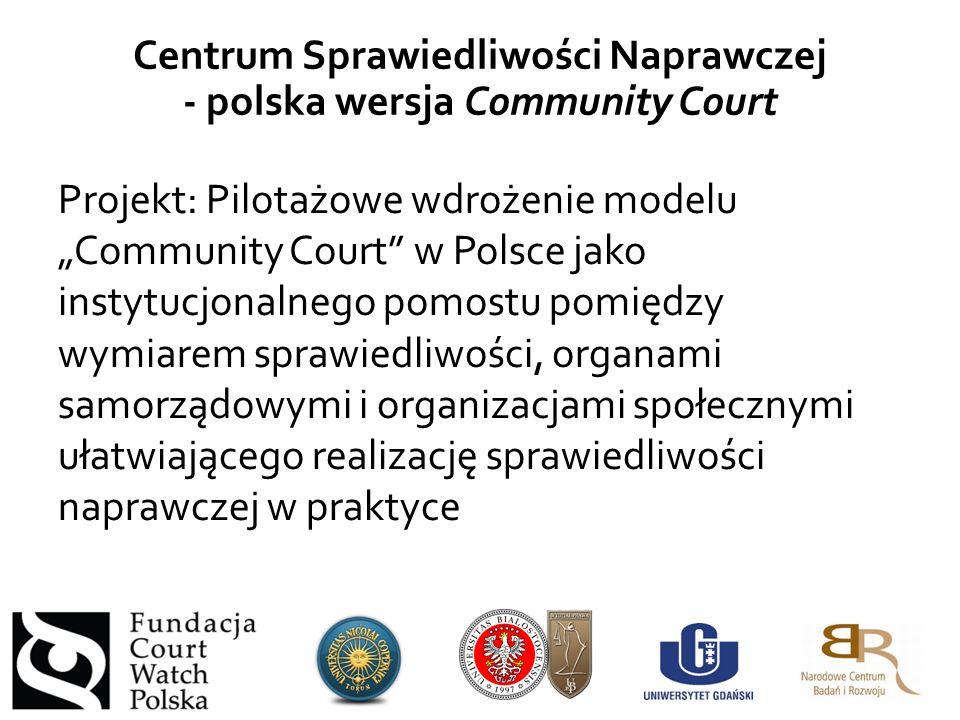 """Projekt: Pilotażowe wdrożenie modelu """"Community Court w Polsce jako instytucjonalnego pomostu pomiędzy wymiarem sprawiedliwości, organami samorządowymi i organizacjami społecznymi ułatwiającego realizację sprawiedliwości naprawczej w praktyce Centrum Sprawiedliwości Naprawczej - polska wersja Community Court"""