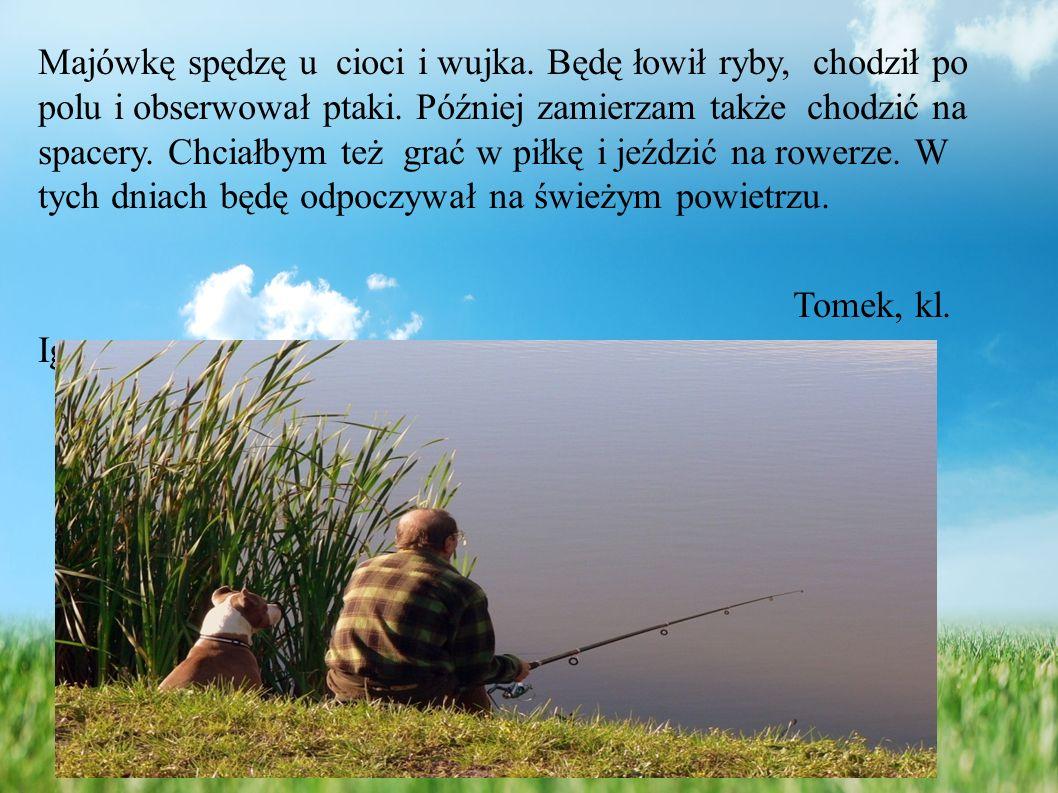 Majówkę spędzę u cioci i wujka.Będę łowił ryby, chodził po polu i obserwował ptaki.