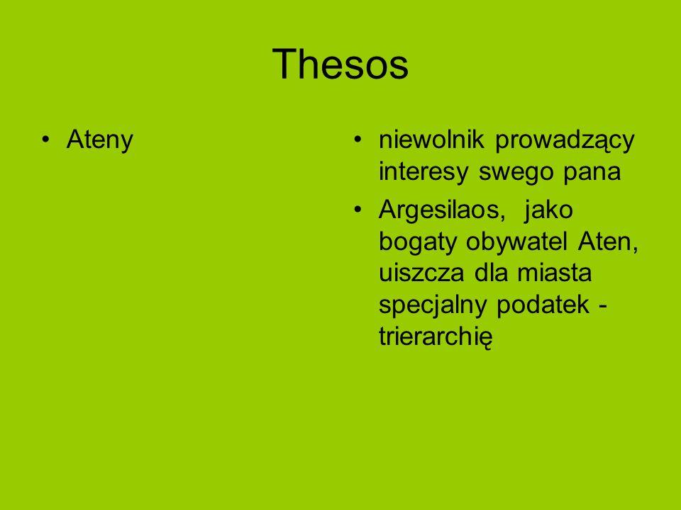 Thesos Atenyniewolnik prowadzący interesy swego pana Argesilaos, jako bogaty obywatel Aten, uiszcza dla miasta specjalny podatek - trierarchię