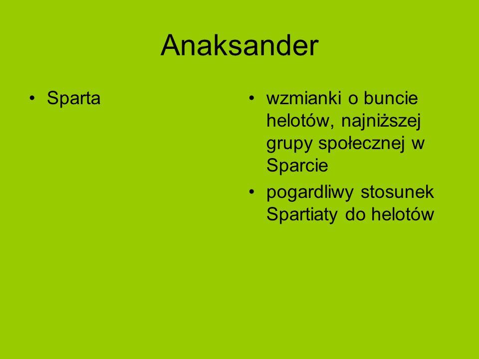 Anaksander Spartawzmianki o buncie helotów, najniższej grupy społecznej w Sparcie pogardliwy stosunek Spartiaty do helotów