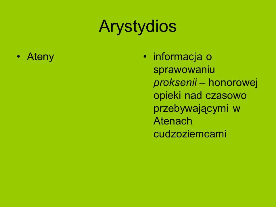 Arystydios Atenyinformacja o sprawowaniu proksenii – honorowej opieki nad czasowo przebywającymi w Atenach cudzoziemcami