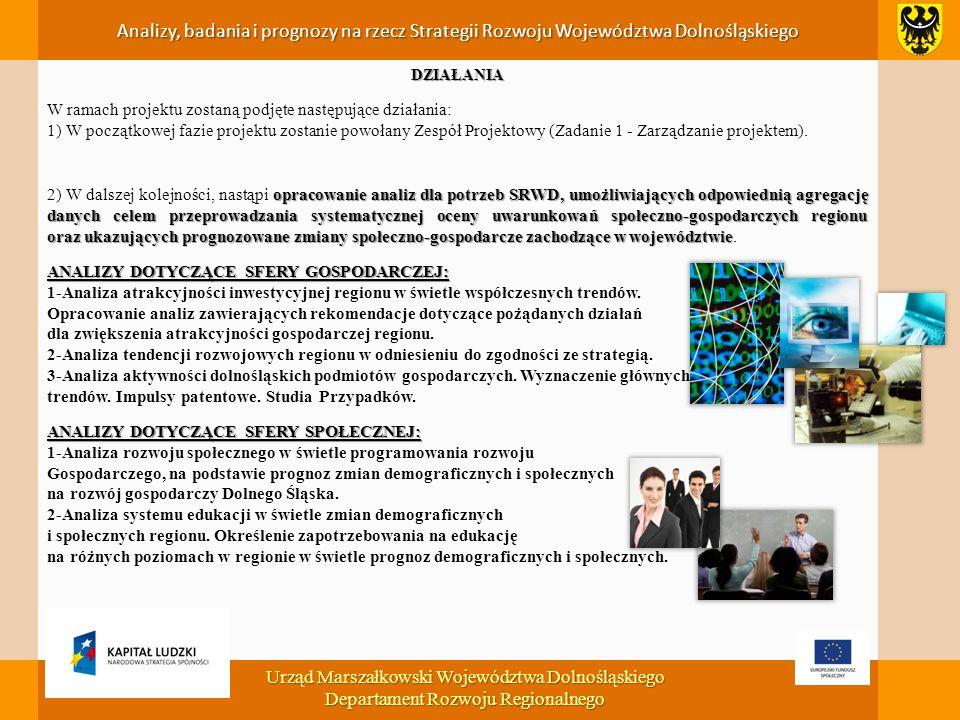 Analizy, badania i prognozy na rzecz Strategii Rozwoju Województwa Dolnośląskiego DZIAŁANIA W ramach projektu zostaną podjęte następujące działania: 1) W początkowej fazie projektu zostanie powołany Zespół Projektowy (Zadanie 1 - Zarządzanie projektem).