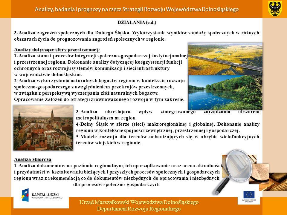 DZIAŁANIA (c.d.) 3-Analiza zagrożeń społecznych dla Dolnego Śląska.
