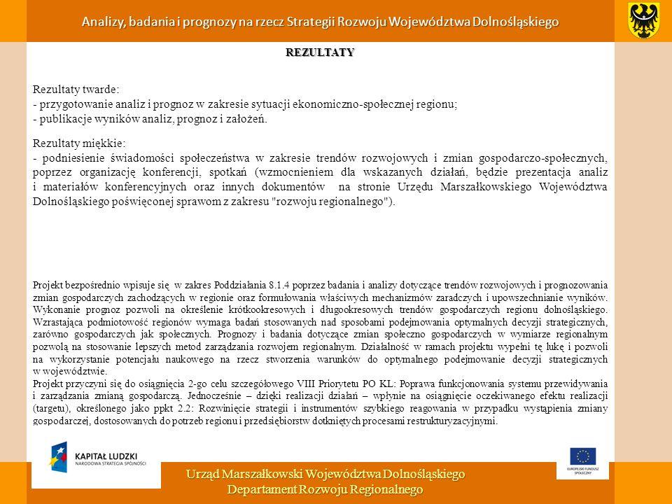 REZULTATY Rezultaty twarde: - przygotowanie analiz i prognoz w zakresie sytuacji ekonomiczno-społecznej regionu; - publikacje wyników analiz, prognoz i założeń.