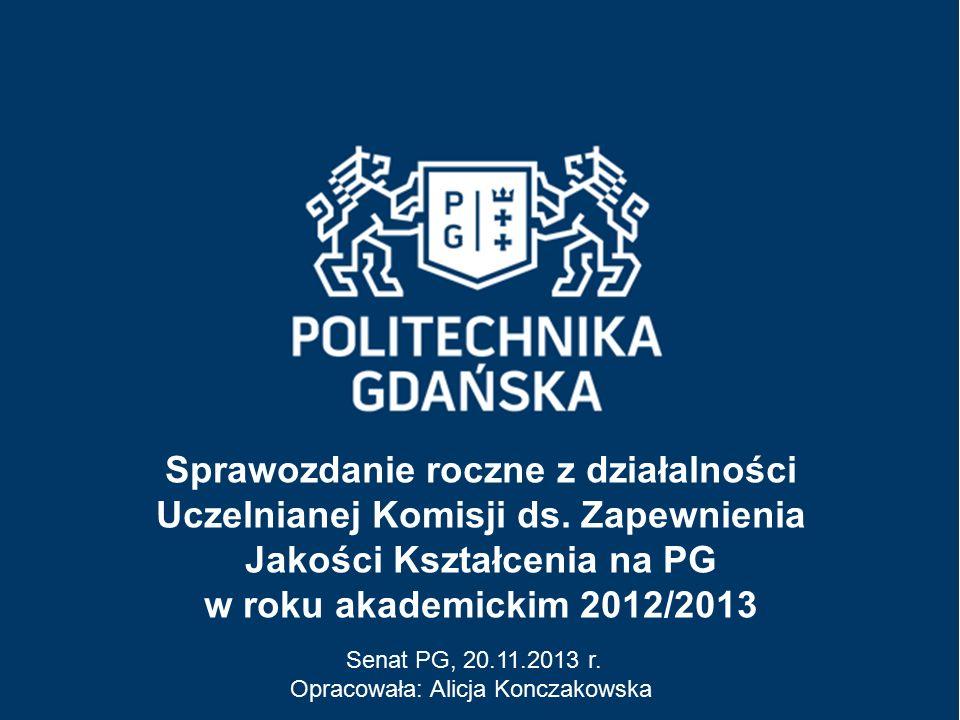 Sprawozdanie roczne z działalności Uczelnianej Komisji ds. Zapewnienia Jakości Kształcenia na PG w roku akademickim 2012/2013 Senat PG, 20.11.2013 r.