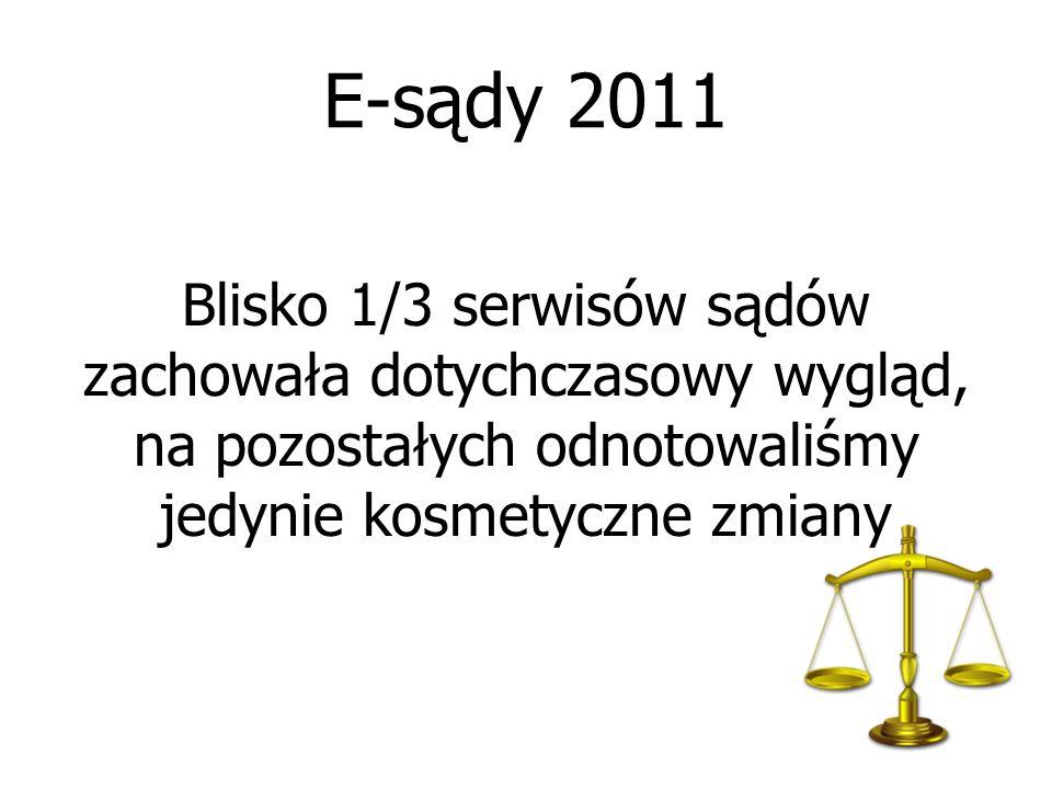 E-sądy 2011 Blisko 1/3 serwisów sądów zachowała dotychczasowy wygląd, na pozostałych odnotowaliśmy jedynie kosmetyczne zmiany