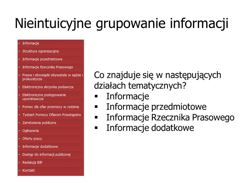 Nieintuicyjne grupowanie informacji Co znajduje się w następujących działach tematycznych?  Informacje  Informacje przedmiotowe  Informacje Rzeczni