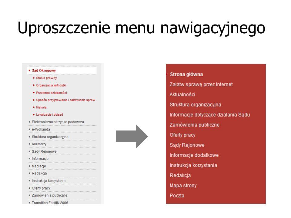 Uproszczenie menu nawigacyjnego
