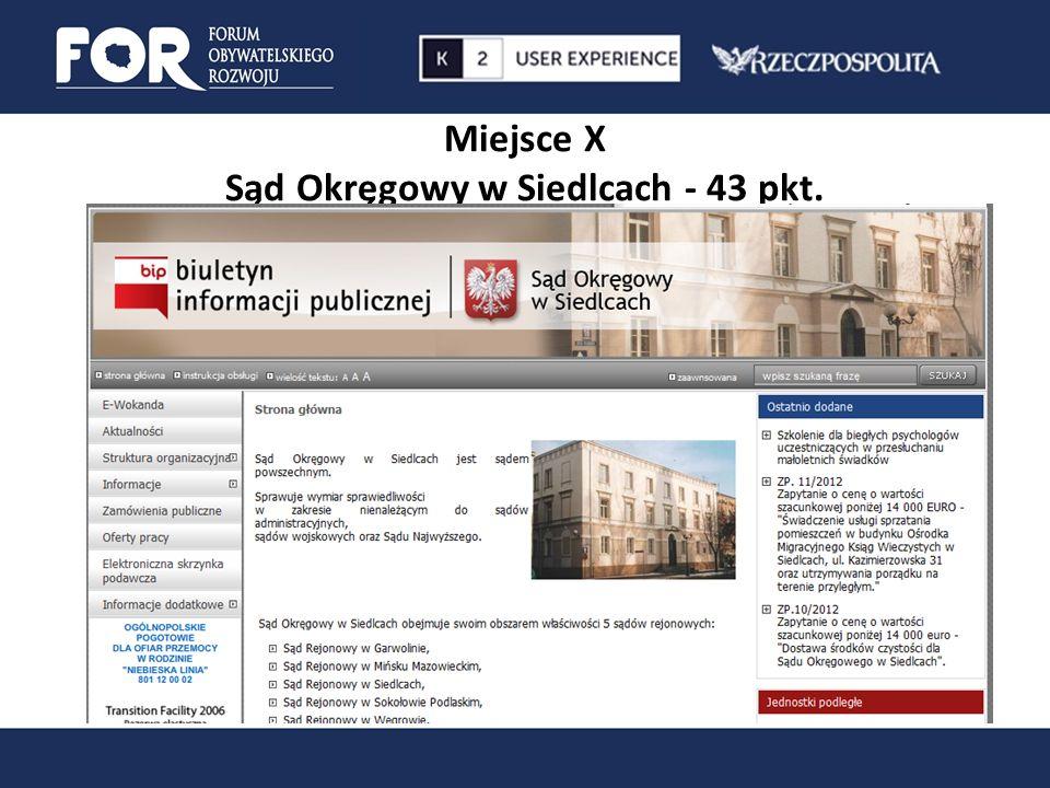 Miejsce X Sąd Okręgowy w Siedlcach - 43 pkt.