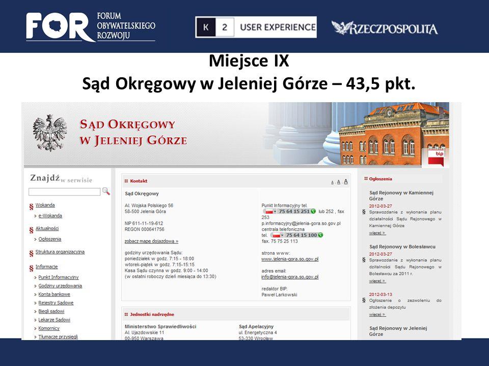 Miejsce IX Sąd Okręgowy w Jeleniej Górze – 43,5 pkt.