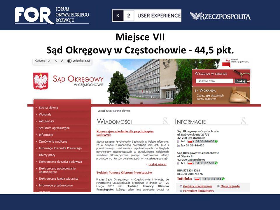 Miejsce VII Sąd Okręgowy w Częstochowie - 44,5 pkt.