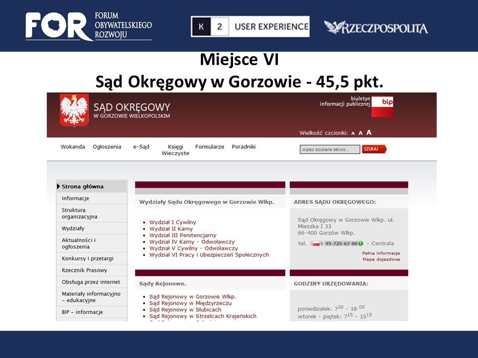 Miejsce VI Sąd Okręgowy w Gorzowie - 45,5 pkt.