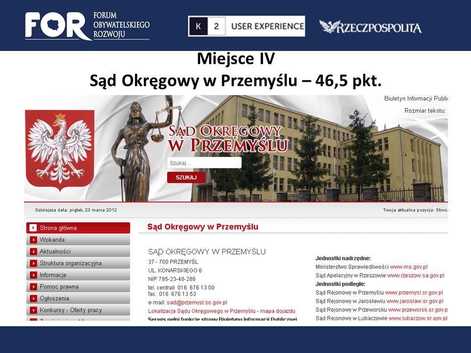 Miejsce IV Sąd Okręgowy w Przemyślu – 46,5 pkt.