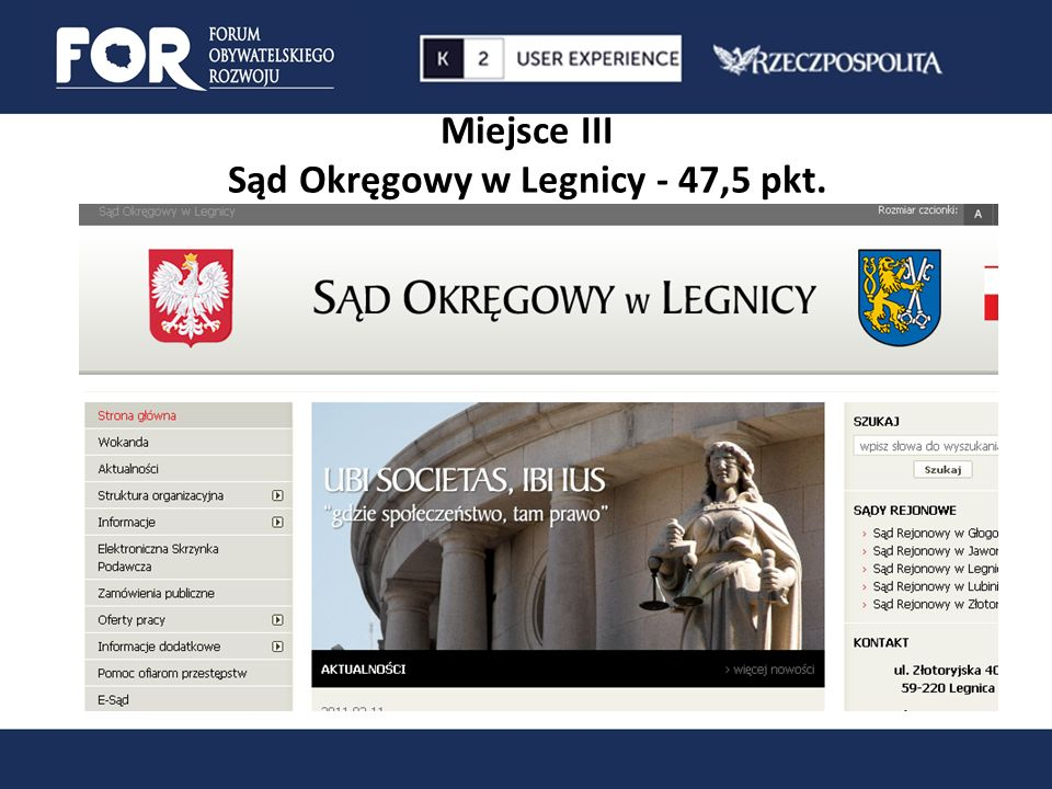 Miejsce III Sąd Okręgowy w Legnicy - 47,5 pkt.