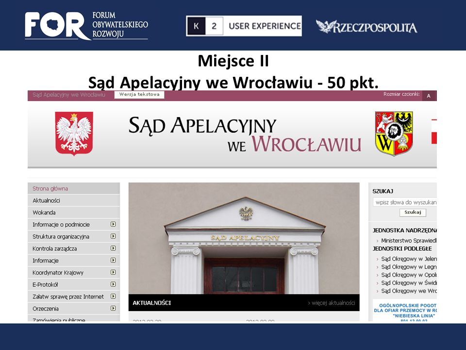 Miejsce II Sąd Apelacyjny we Wrocławiu - 50 pkt.