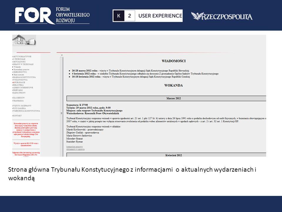 Strona główna Trybunału Konstytucyjnego z informacjami o aktualnych wydarzeniach i wokandą