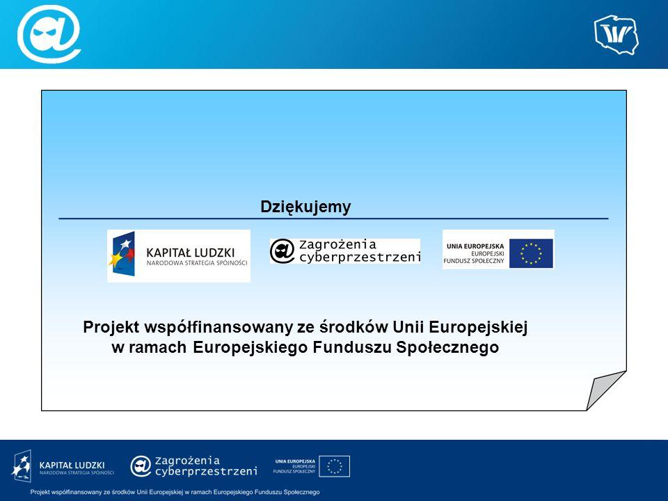 Dziękujemy Projekt współfinansowany ze środków Unii Europejskiej w ramach Europejskiego Funduszu Społecznego