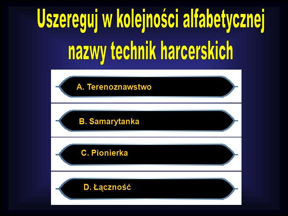 C. Pionierka A. Terenoznawstwo B. Samarytanka D. Łączność