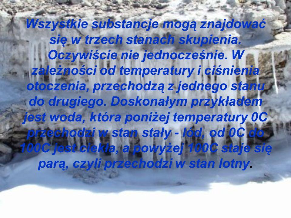 Wszystkie substancje mogą znajdować się w trzech stanach skupienia. Oczywiście nie jednocześnie. W zależności od temperatury i ciśnienia otoczenia, pr