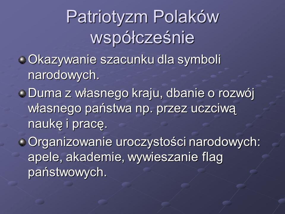 Okazywanie szacunku dla symboli narodowych.