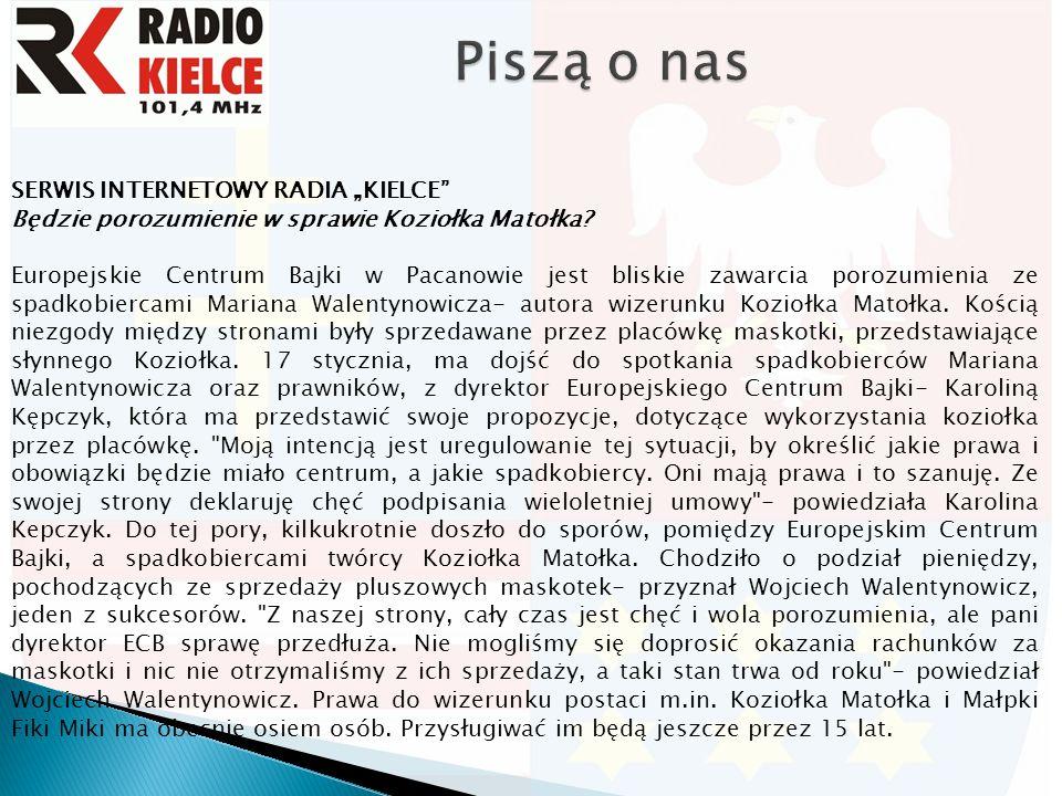 """SERWIS INTERNETOWY RADIA """"KIELCE Będzie porozumienie w sprawie Koziołka Matołka."""