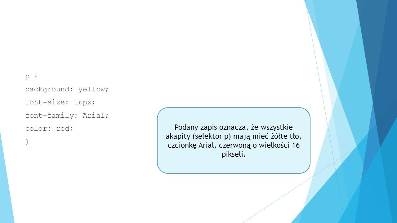 Ćwiczenie Stwórz stronę spełniającą poniższe warunki:  - nagłówek h4 z odstępem pomiędzy literami 4px  - tekst złożony z 10 akapitów  - akapity mają tło żółte i są wyśrodkowane  - wszystkie akapity mają tekst czerwony oraz margines dolny 30px  - piąty akapit ma obramowanie niebieskie wykreskowane, a lewa krawędź obramowania ma być niewidoczna