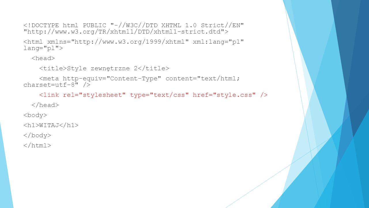 Selektory dotyczące identyfikatorów  Do elementu, który ma atrybut id o wartości opis, można odwoływać się w stylach CSS przy użyciu selektora: #opis { … }  Jeśli jest to element h1, to selektor może przyjąć postać: h1#opis { … }  Z powodu unikalności identyfikatorów stosowanie tego zapisu nie przynosi żadnej korzyści- oba powyższe identyfikatory dotyczą wyłącznie jednego elementu w kodzie XHTML: tego, który ma atrybut id o wartości opis: …