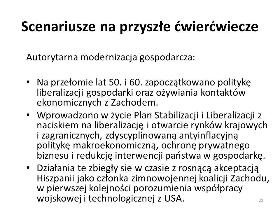 Scenariusze na przyszłe ćwierćwiecze Autorytarna modernizacja gospodarcza: Na przełomie lat 50.
