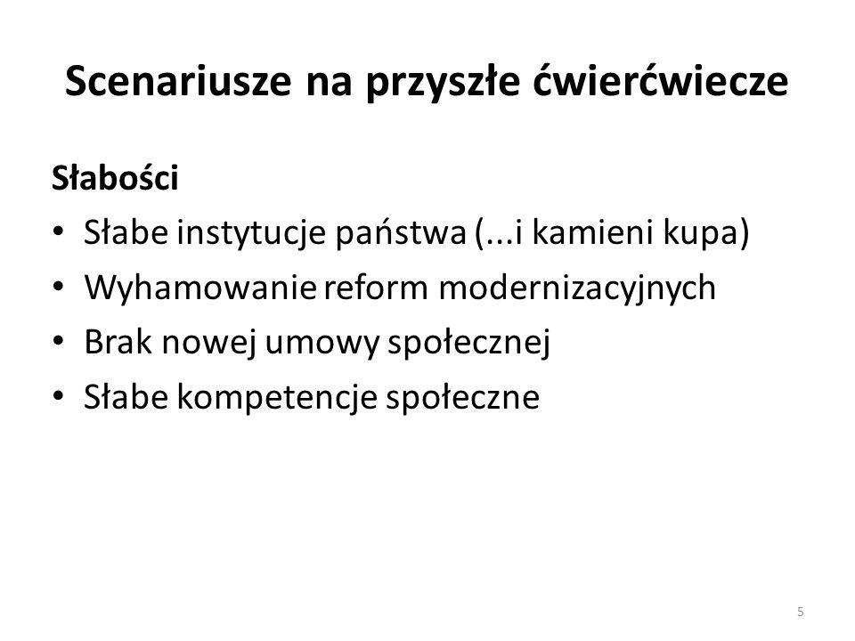 Scenariusze na przyszłe ćwierćwiecze Słabości Słabe instytucje państwa (...i kamieni kupa) Wyhamowanie reform modernizacyjnych Brak nowej umowy społecznej Słabe kompetencje społeczne 5