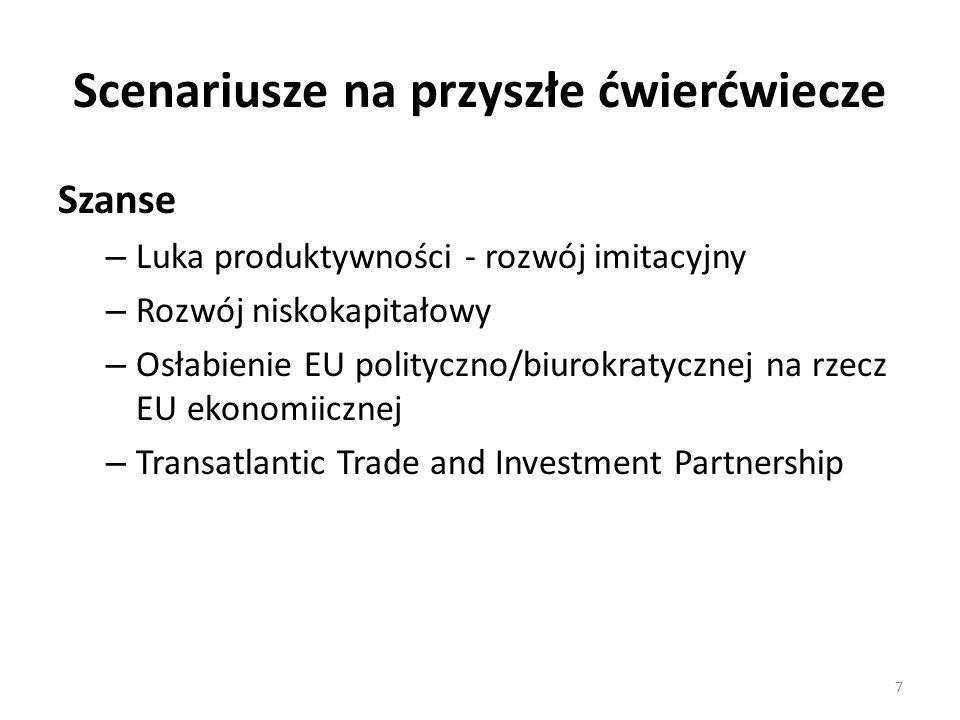 Scenariusze na przyszłe ćwierćwiecze Szanse – Luka produktywności - rozwój imitacyjny – Rozwój niskokapitałowy – Osłabienie EU polityczno/biurokratycznej na rzecz EU ekonomiicznej – Transatlantic Trade and Investment Partnership 7