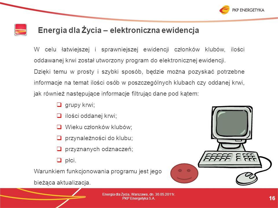 16 Energia dla Życia, Warszawa, dn. 30.05.2011r. PKP Energetyka S.A.